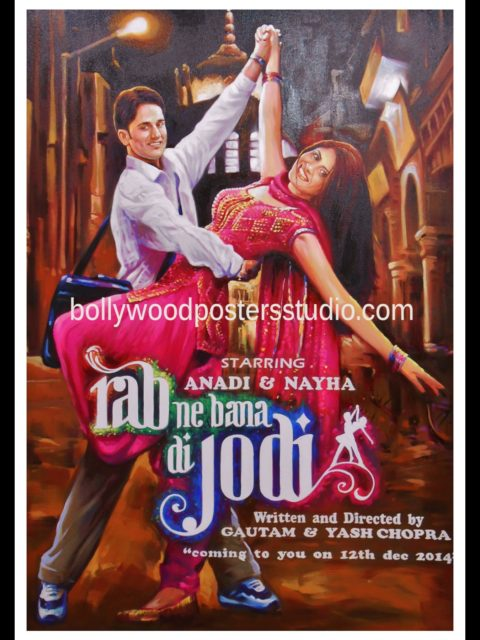 Bollywood poster save the date cards