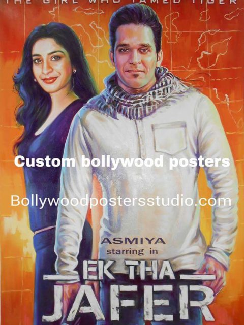Hand painted Bollywood custom posters for couple