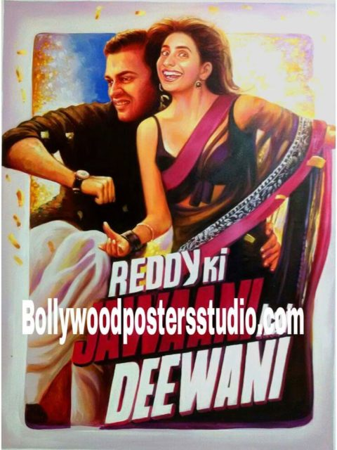 Hand painted custom Bollywood poster art