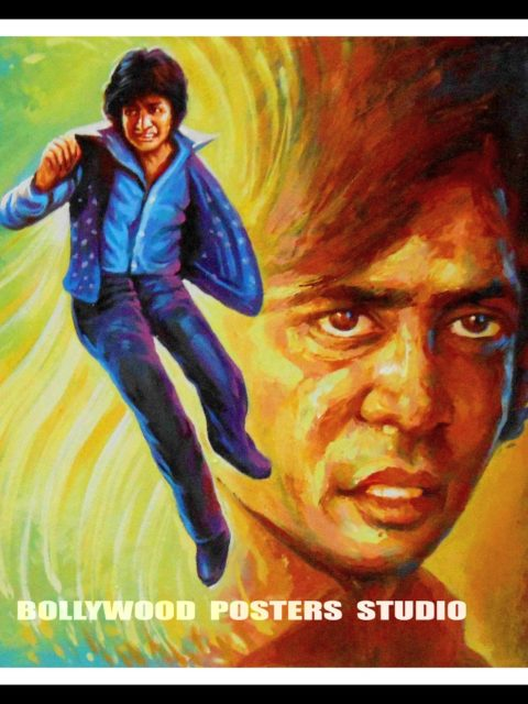Hand painted knife art Bollywood film fan posters of Amitabh Bachchan and Salman Khan