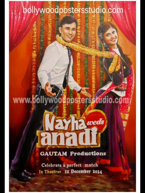 Personalized customized save the date Bollywood poster