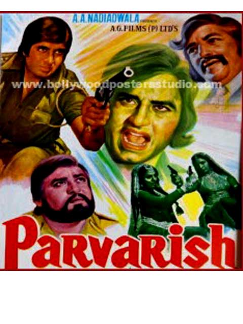 Hand painted bollywood movie posters Parvarish - Amitabh bachchan