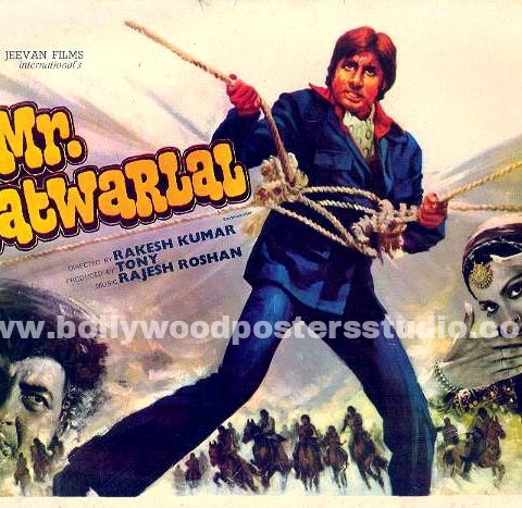 Hand painted bollywood movie posters Mr.natwarlal - Amitabh bachchan