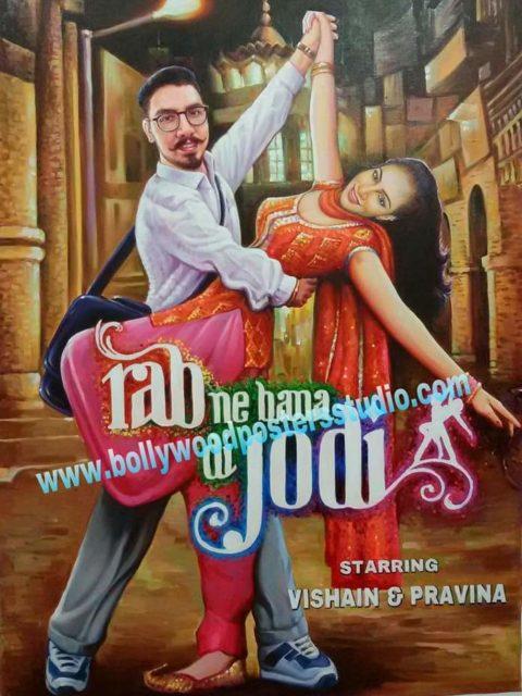 Custom Bollywood poster for wedding cards