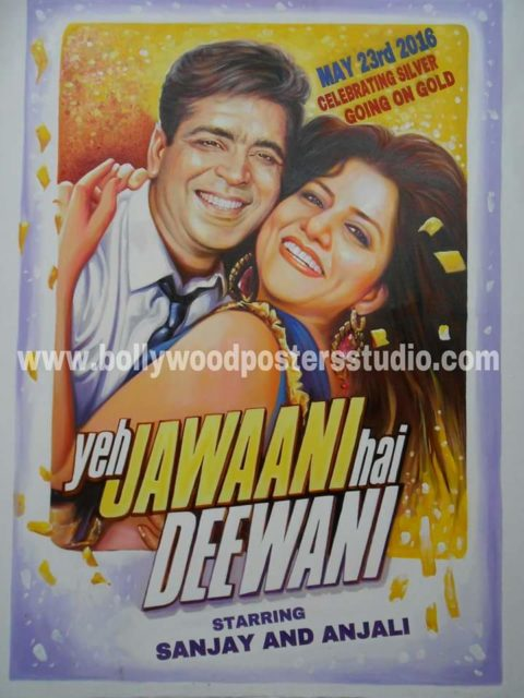 Silver jubilee wedding anniversary gift poster in custom bollywood style