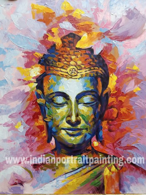 Buddha oil painting for sale - knife art