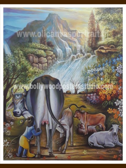 Canvas Krishna with gau mata oil painting