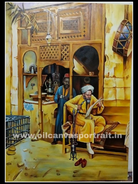 Canvas hand painted art arabian oil painting