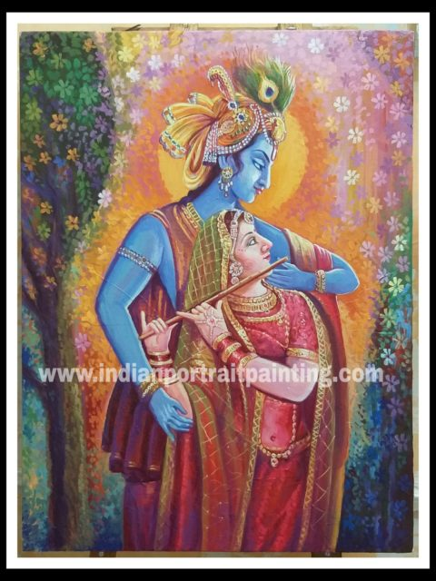 Canvas oil paintings for sale - Radha Krishna
