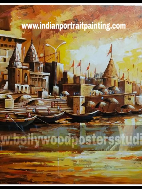 Canvas original Banaras ghat oil painting