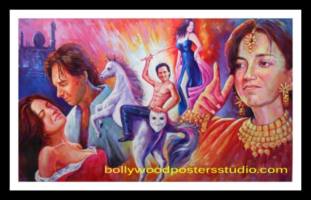 Customized banner hand painted Bollywood mashup poster online