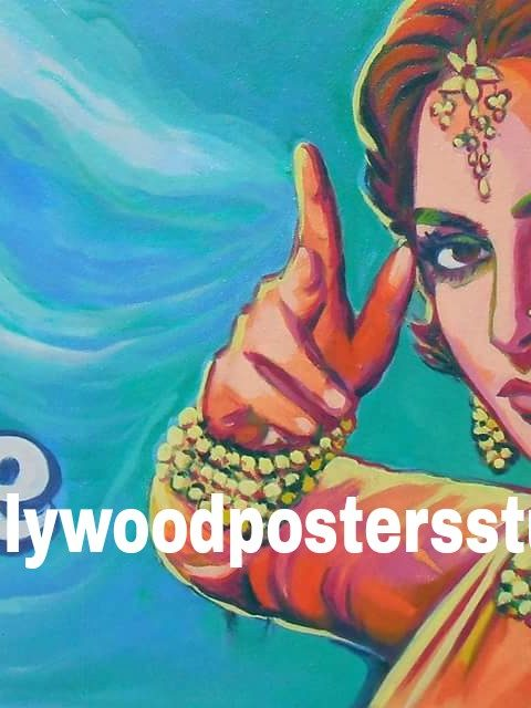 Hand painted Indian movie poster art on oil canvas
