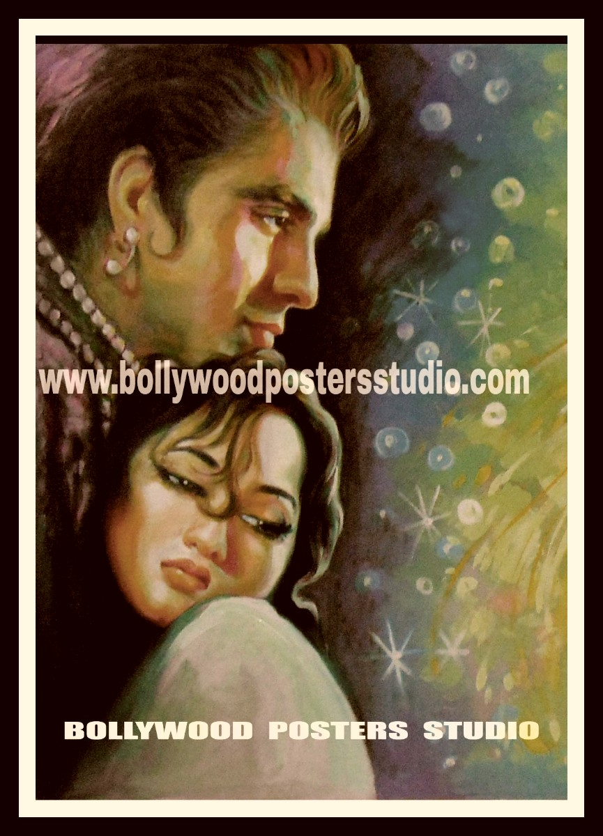 Hand painted old Indian classic movie poster