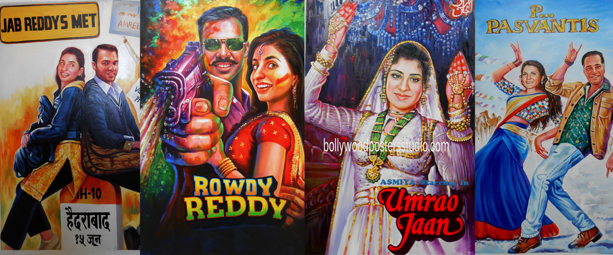 hand painted customized bollywood wedding movie posters