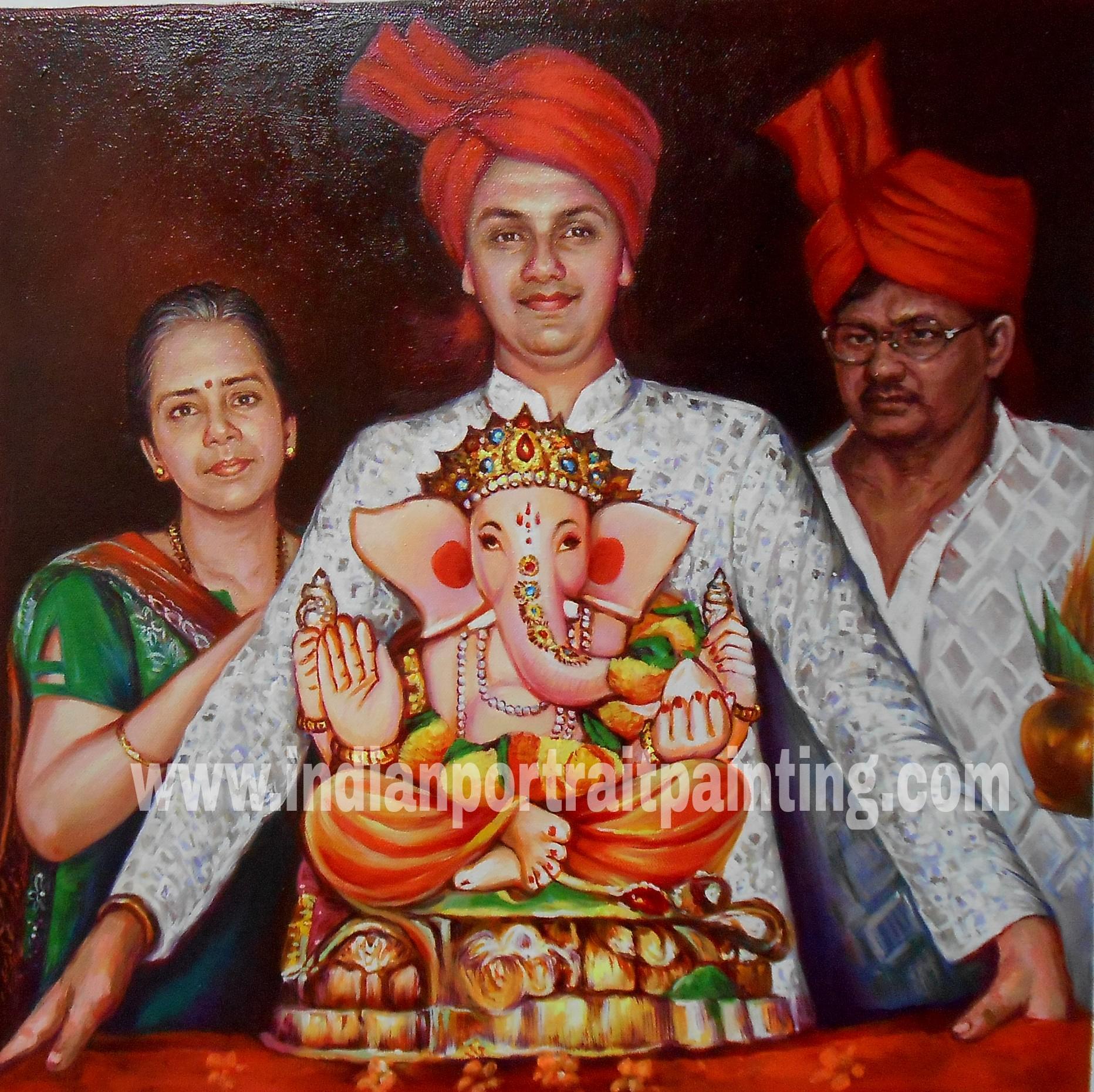 Indian traditional and custom portraits hand painted mumbai