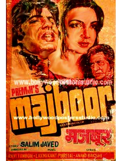 Majboor hand painted bollywood movie posters