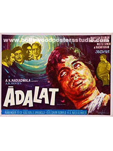 Hand painted bollywood movie posters Adalat - Amitabh bachchan