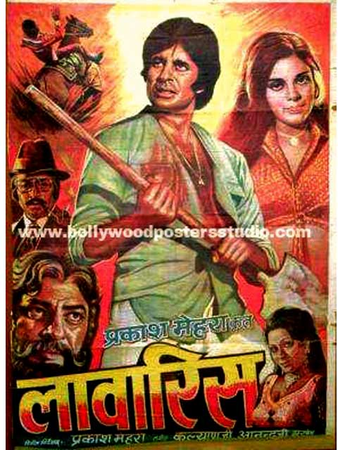 Hand painted bollywood movie posters Lawaris - Amitabh bachchan
