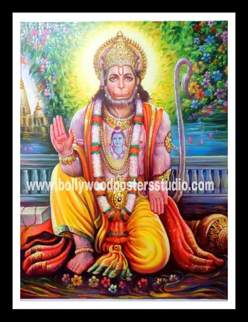 Perfect hand painted portrait artist in india , mumbai - Hanuman jI reproduction on oil canvas