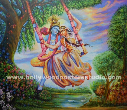 Radha krishna on swing - Best hand painted reproduction on canvas
