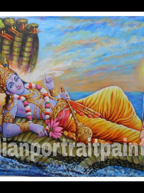 Best hand painted artist oil canvas - Lord Vishnu and Maa Laxmi reproduction