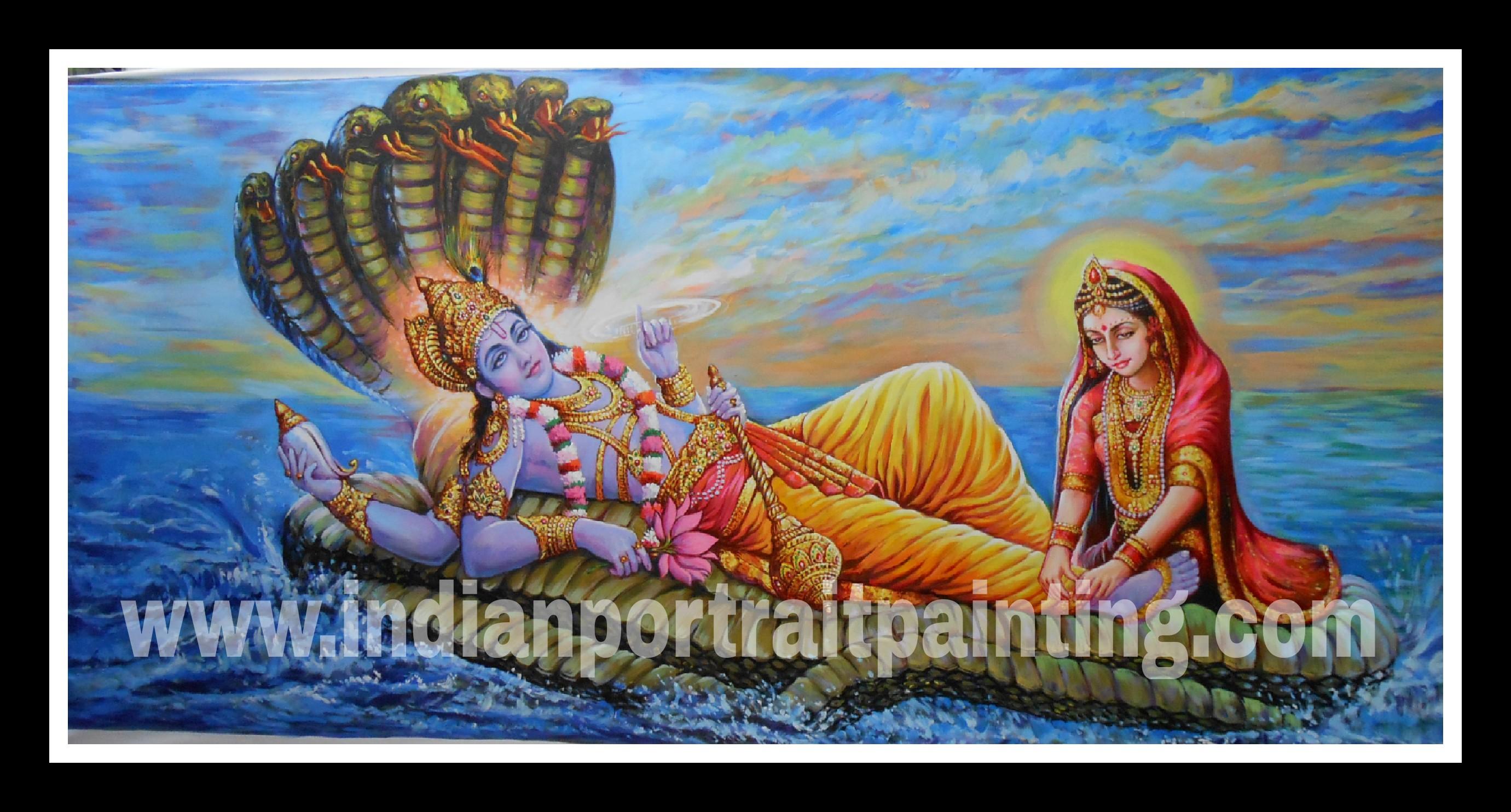 Best hand painted artist oil canvas - Lord Vishnu and Maa Laxmi reproduction