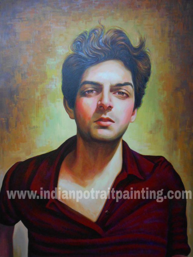 Hand painted custom oil canvas portrait