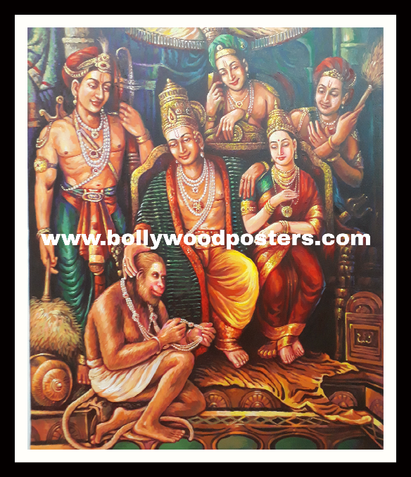 Ram seeta hanuman hand painted reproduction