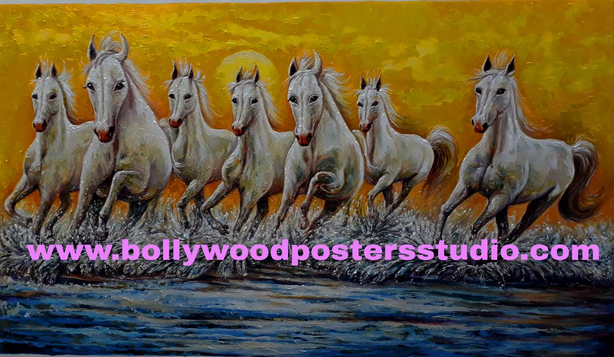Good luck 7 white horse painting on canvas