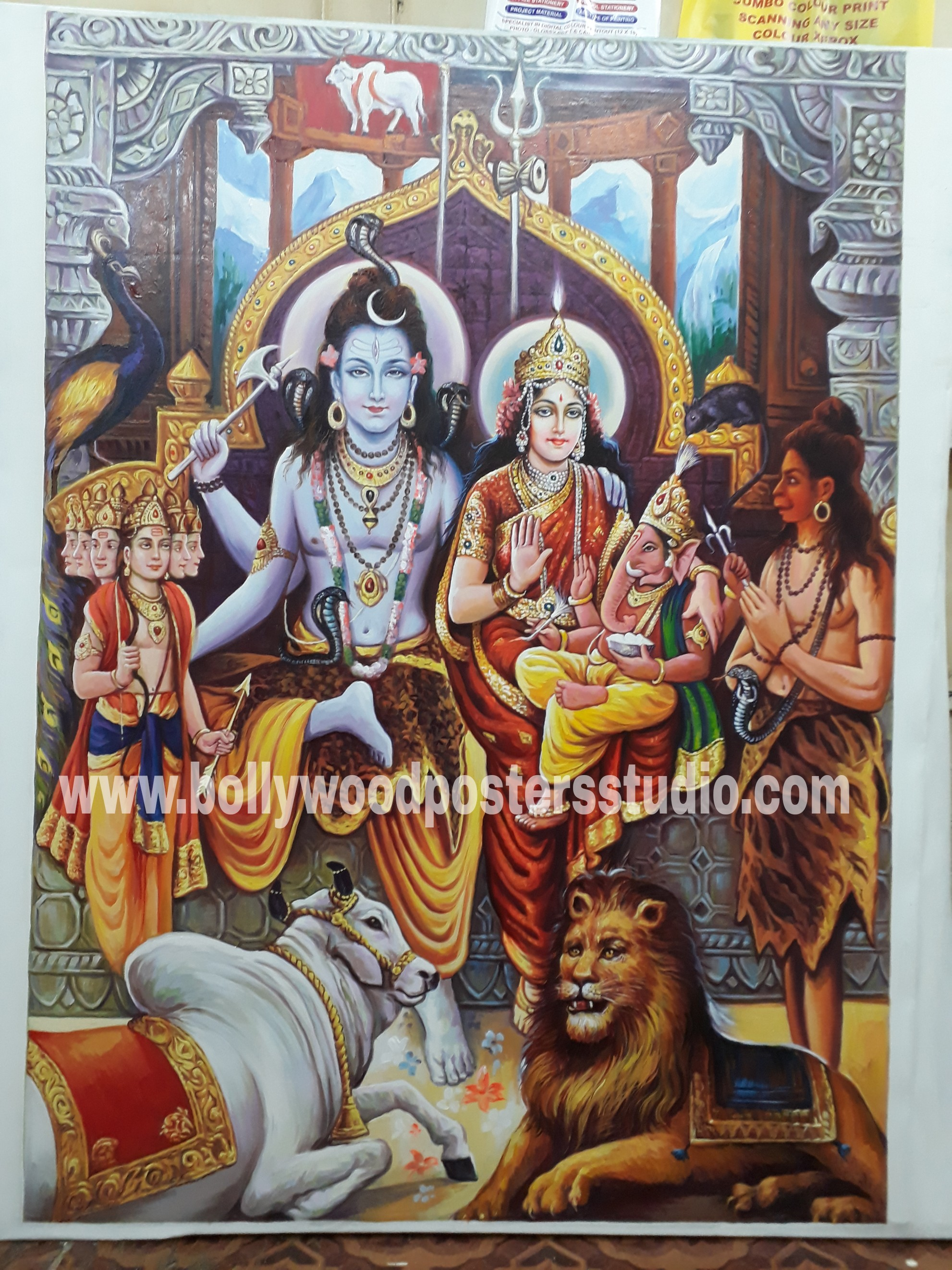 Hand painted shiv parvati darbar painting on oil canvas