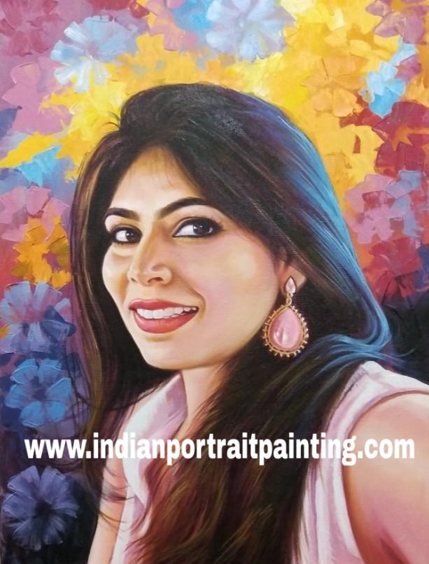 Canvas oil self art portrait