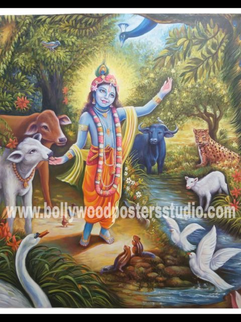 Canvas original Krishna in vrindavan oil painting