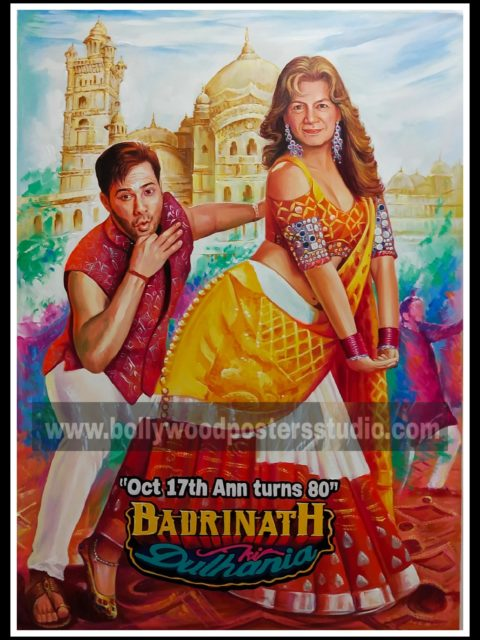 Hand painted poster with bollywood actors