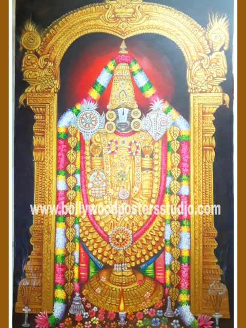 Hindu gods oil paintings - Tirupati balaji