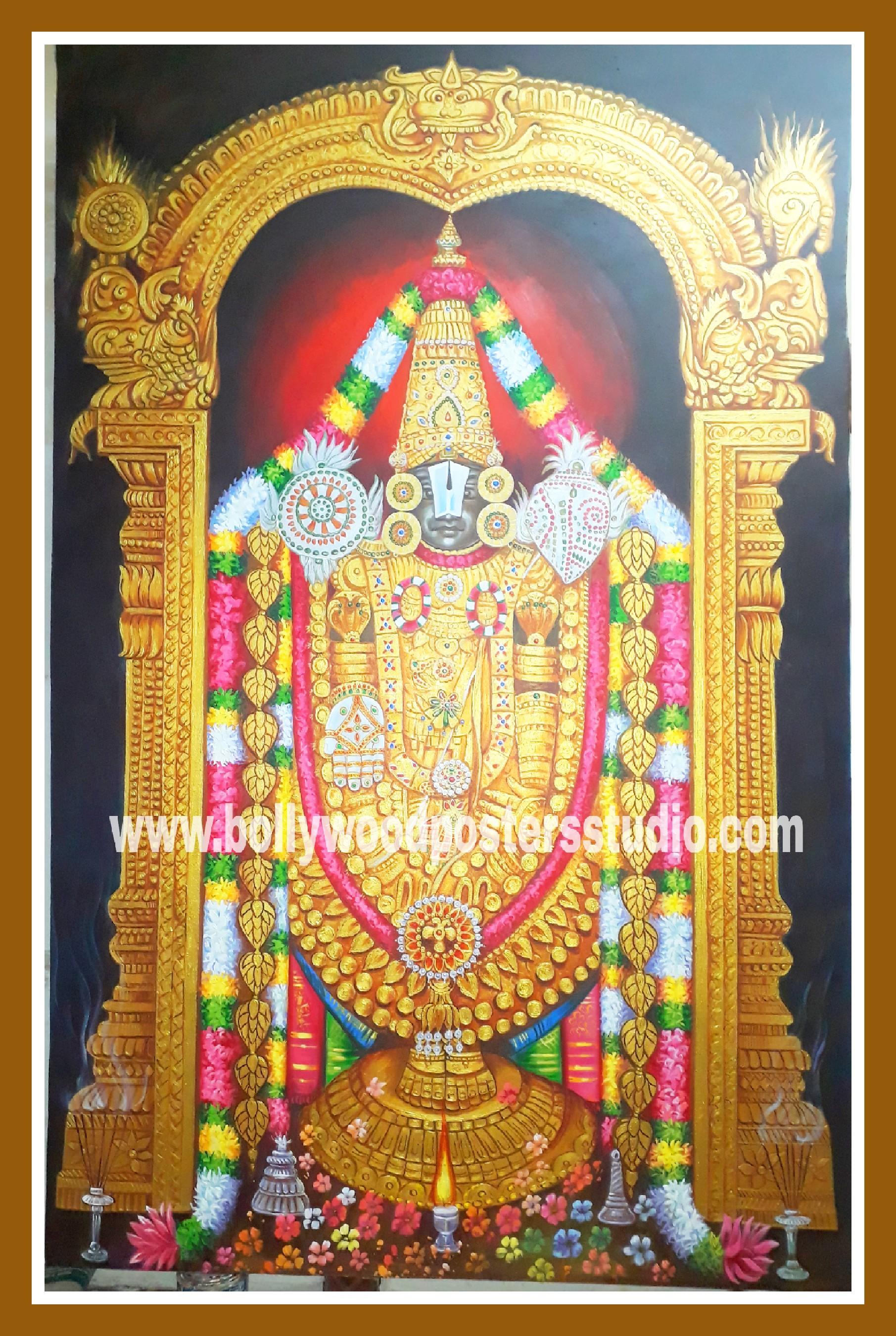 Hindu gods oil paintings - Tirupati balaji