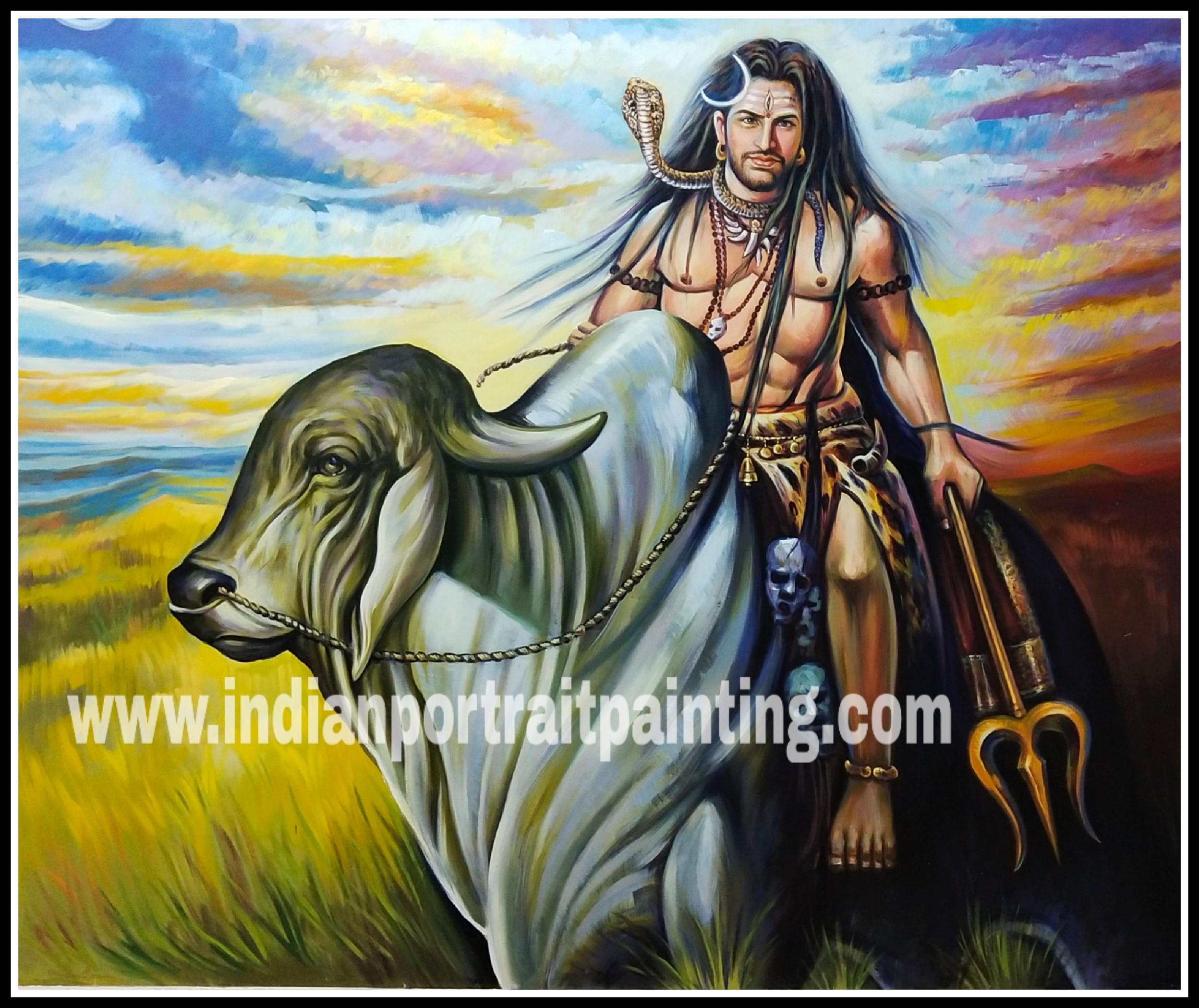 Lord Shiva oil painting on canvas artist