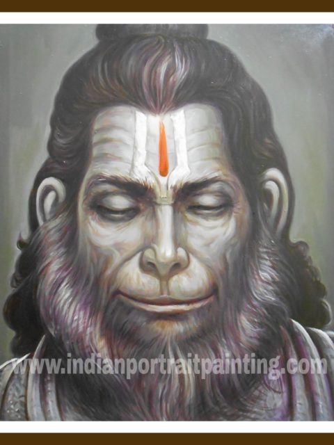 Oil on canvas Hanuman face paintings