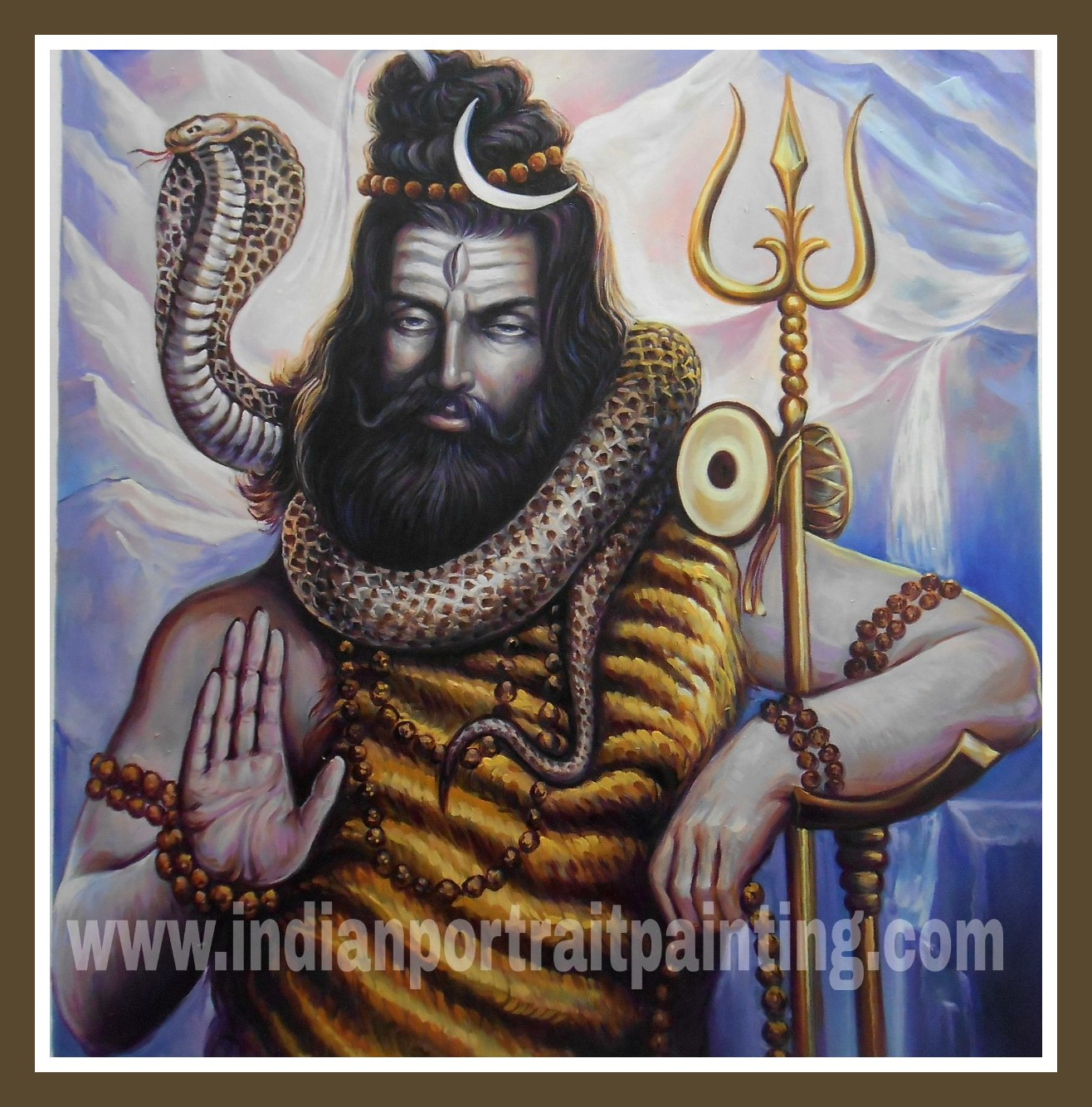 Oil painting of lord shiva on canvas