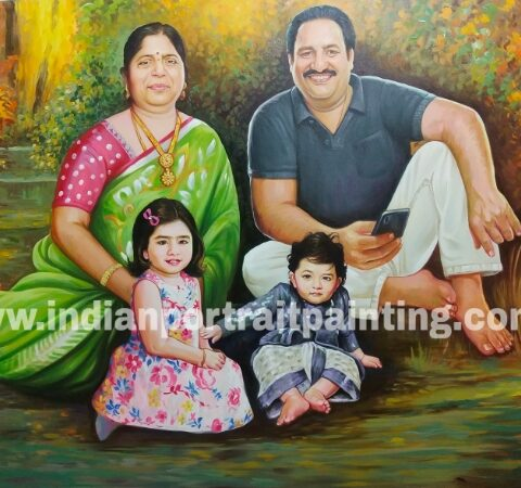 Custom made oil portrait painting for family