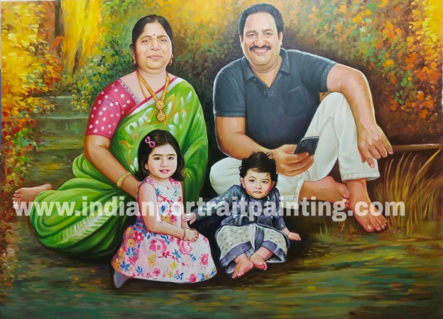 Custom made oil portrait painting for family