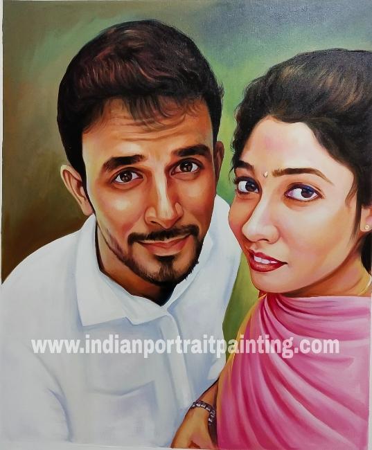 Customizable realistic portrait on oil canvas